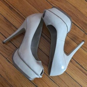 Beige open toe heels